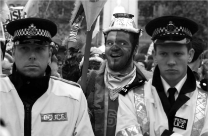 Rebel clown at the G8 summit, Scotland 2005. Source: Guy Smallman